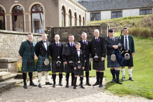 Wedding Piper & Kilted Guests